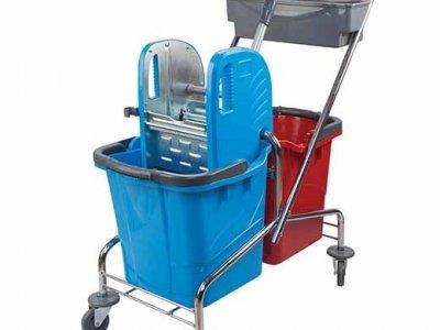 Çift Kovalı Temizlik Arabası Krom