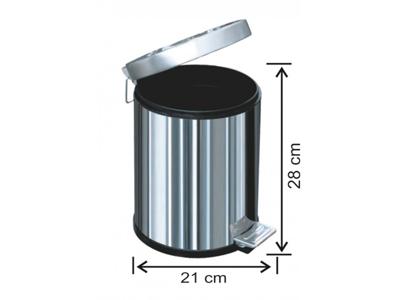 Pedallı Metal Çöp Kovası 5 Lt
